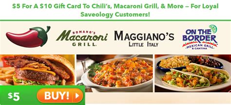 Macaroni Grill Gift Card Balance - grab 10 to chili s macaroni grill for 5