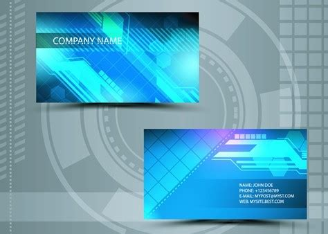 technology business card templates free free clean technology business card design template vector