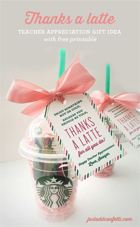 free gift ideas thanks a latte appreciation gift idea with free