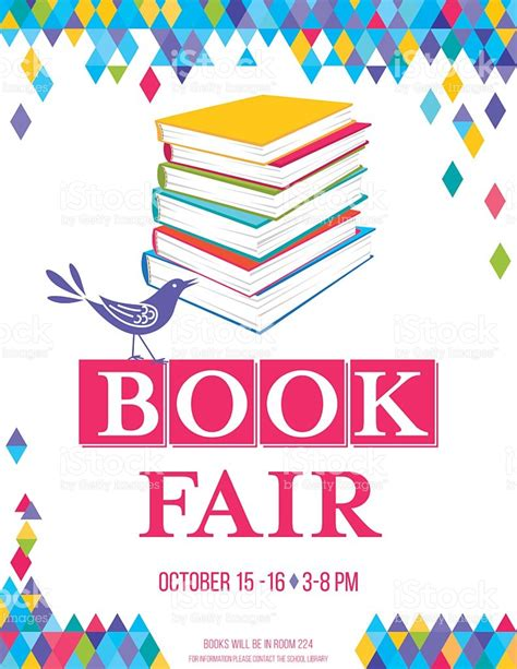 book fair pictures bright childrens book fair poster template stock vector