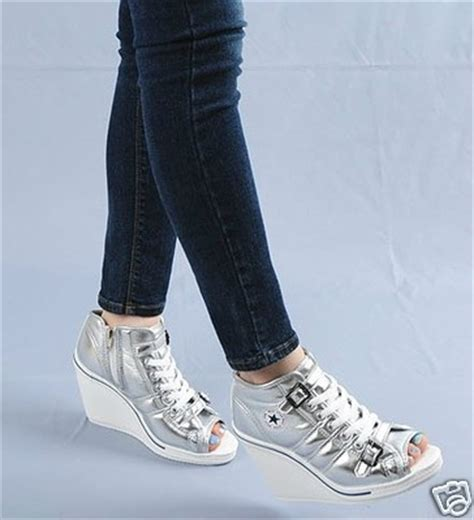 open toe athletic shoes wedge high heels sneakers tennis shoes open toe