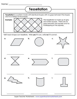 tessellating shapes templates tessellation worksheets