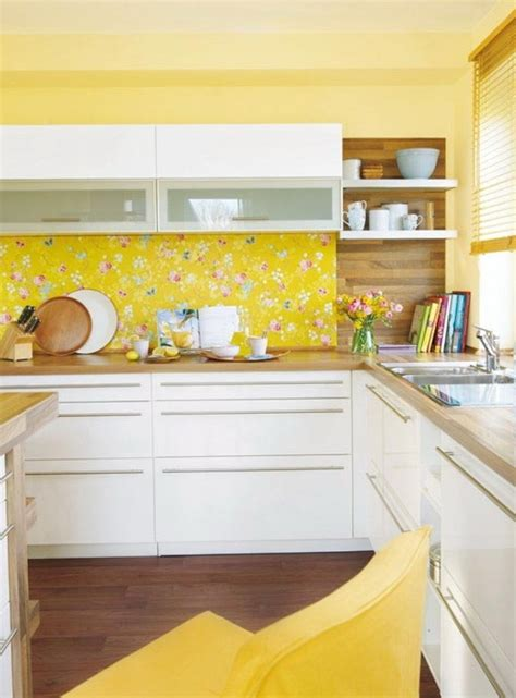 yellow kitchen wallpaper the use yellow in the interior home interior design