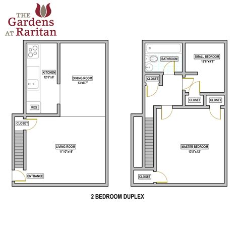 2 Bedroom Duplex | the gardens at raritan availability floorplans the