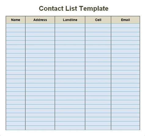 Contact List Card Template 24 free contact list templates in word excel pdf