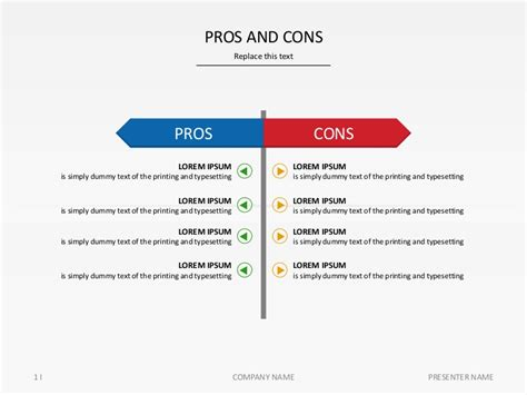 Pros And Cons Report Template slide pros and cons