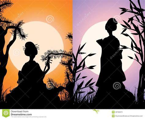 imagenes de geishas japonesas animadas tarjetas japonesas fotos de archivo imagen 28792873