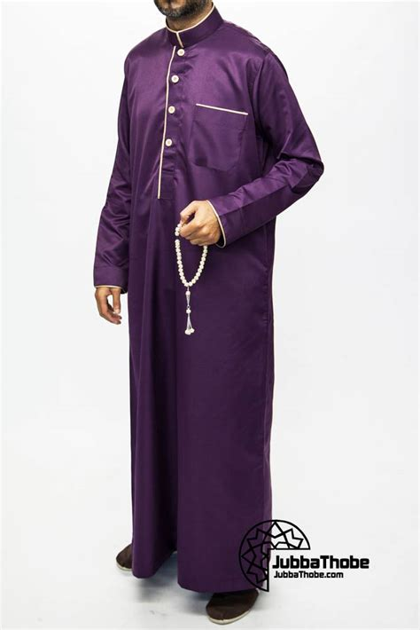 arab thobe pattern purple mens pipping jubba 163 25 49