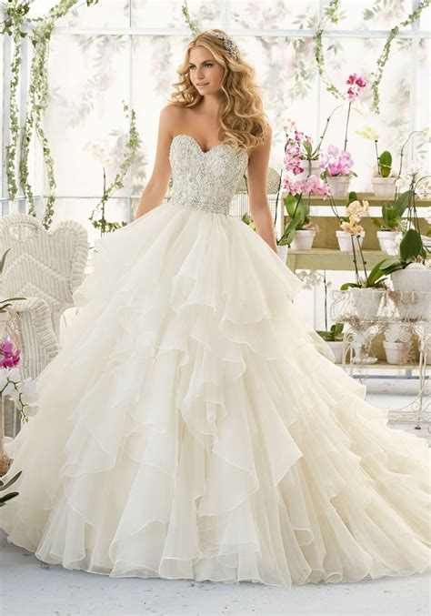 wedding dresses bridal wedding dress with bodice on organza style 2815