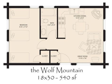 Small Mountain Cabin Floor Plans by 18 X 30 Floor Plan The Wolf Mountain Tiny Homes