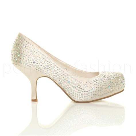 womens low mid heel wedding prom bridal diamante
