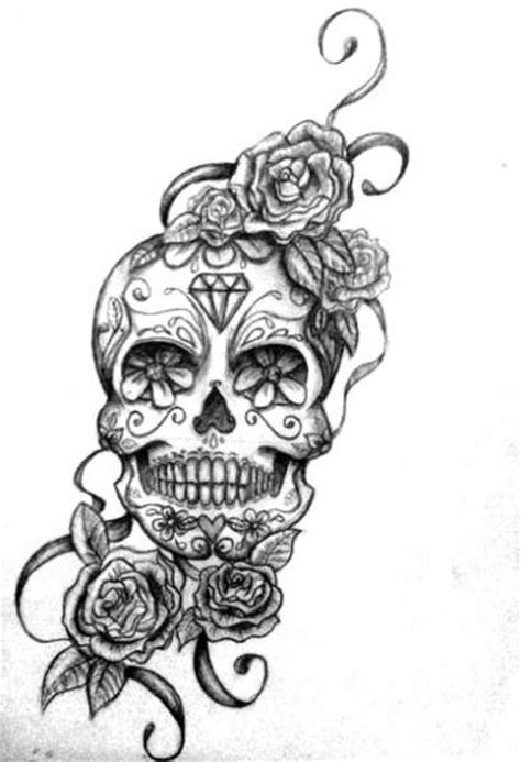 sugar skull and roses tattoo shoulder skull and roses tattoos caravera skull