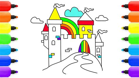 rainbow castle coloring page how to draw rainbow castle coloring pages for children