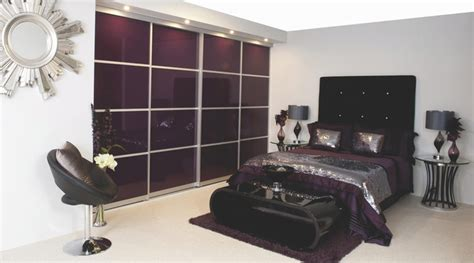 b q bedrooms contemporary aubergine gloss sliding wardrobe doors