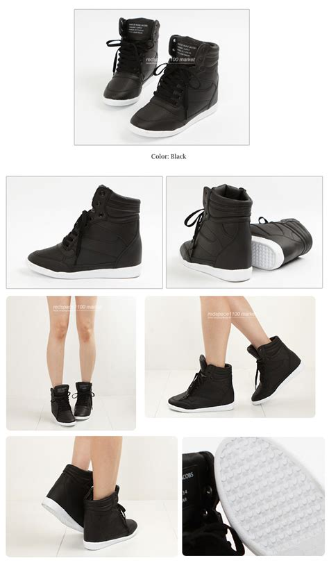 Sneaker Wedges Korean Style Import M016a fashion sneakers wedges high top lace up high