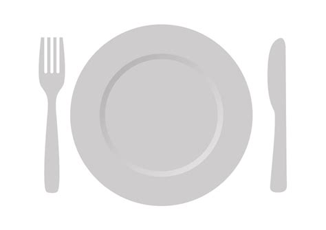 and cutlery plate with cutlery free vector