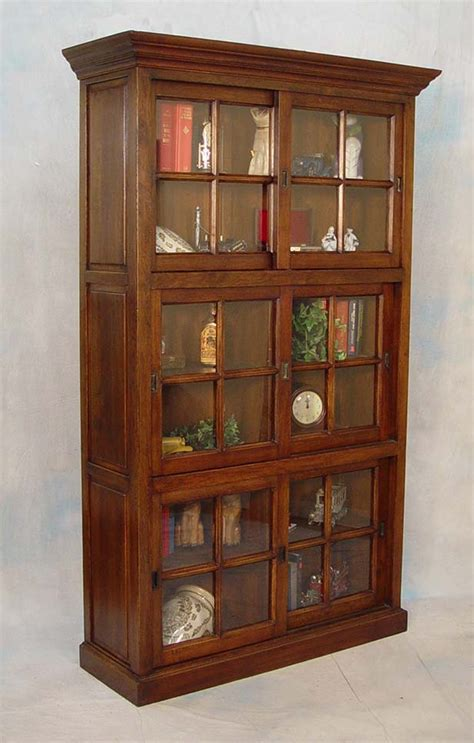 Oak Bookcases With Glass Doors Solid Oak Sliding Glass Door Office Bookcase Ebay