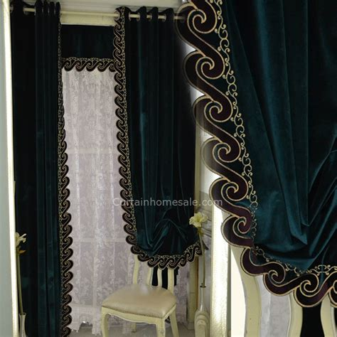 dark green curtains drapes dark green velvet thick fabric noise reducing blackout curtain