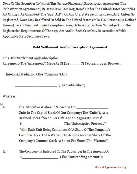 Credit Settlement Agreement Letter Debt Settlement And Subscription Agreement Sle Debt Settlement And Subscription Agreement