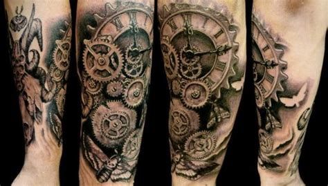 clock gears tattoo 51 coolest steunk designs amazing ideas