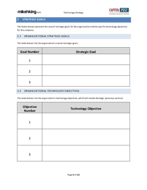strategic technology plan template technology strategy template