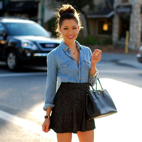 denim shirt black high waisted skirt denim jacket