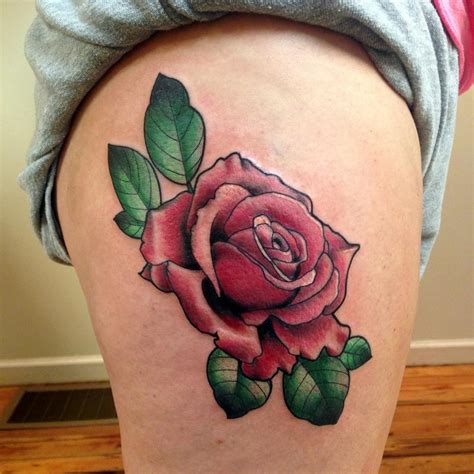 hip tattoo rose neo traditional pink on hip by frank ready