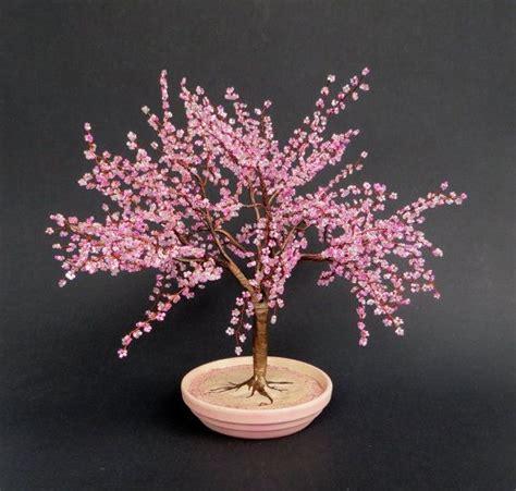 beaded tree cherry blossom bonsai beaded bonsai tree