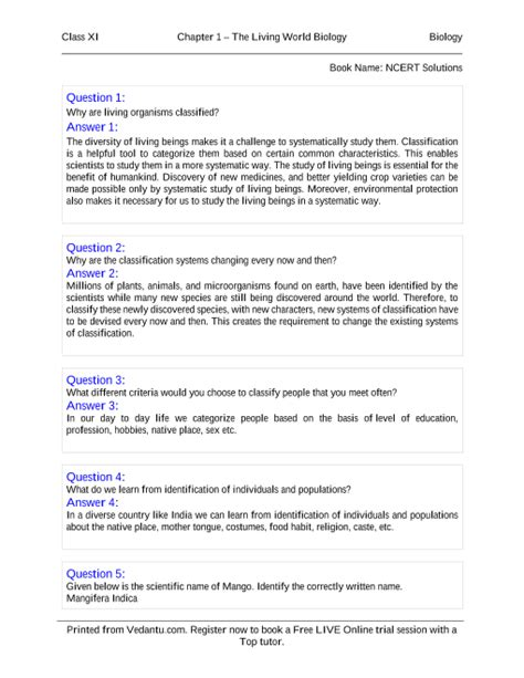 NCERT Books Free Download for Class 11 Biology Chapter 1