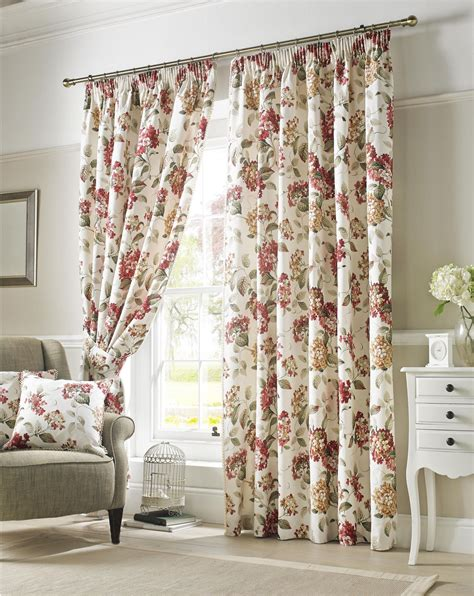 red green curtains flowers floral red green cream lined pencil pleat curtains