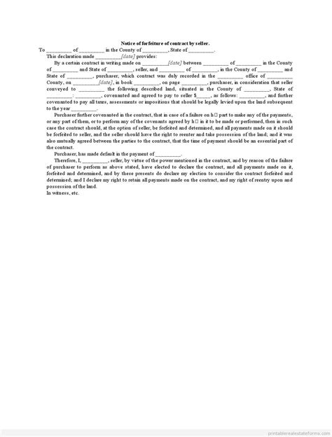 forfeiture notice template sle printable notice of forfeiture of contract by