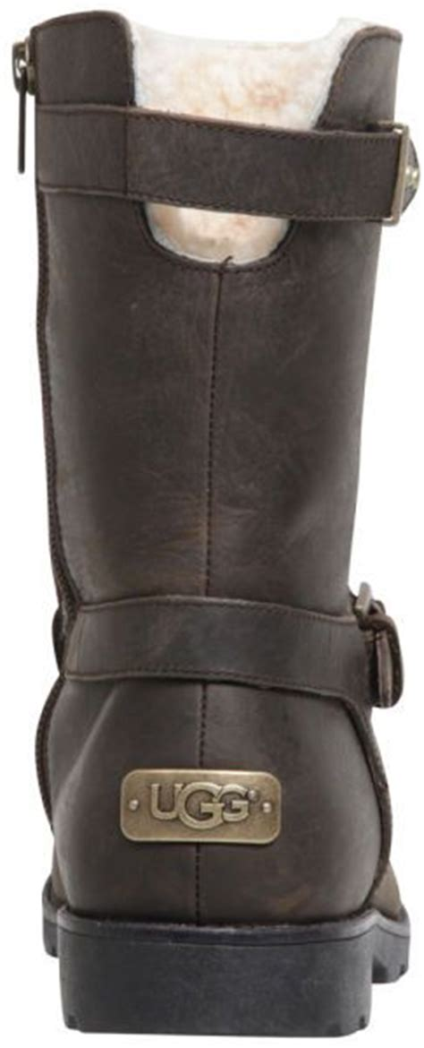 ugg australia womens grandle leather buckle boots in brown