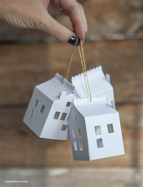How To Make A Paper Ornament - diy paper house ornament lia griffith