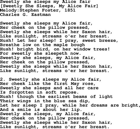 song in american song lyrics for sweetly she sleeps my