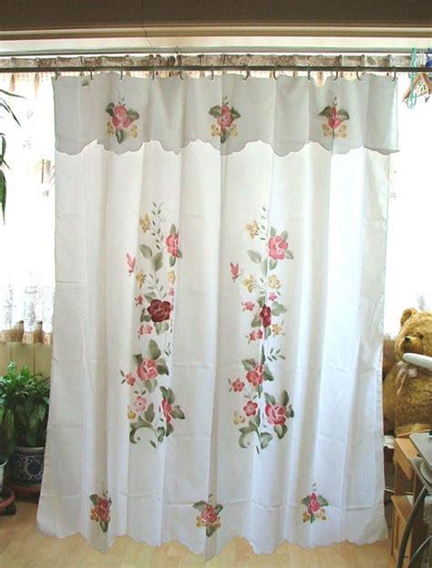 applique shower curtain chic applique flower shower curtain valance 180x180cm