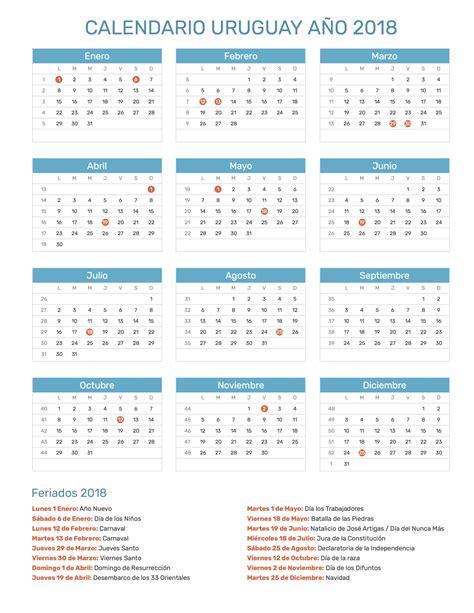 Calendario Uruguay 2018 Calendario Uruguay A 241 O 2018 Feriados