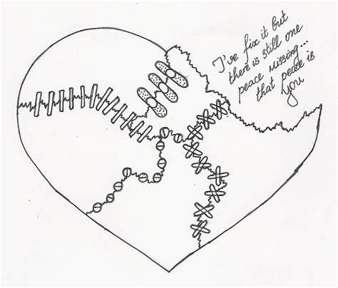 coloring pencil of broken hearts coloring pages