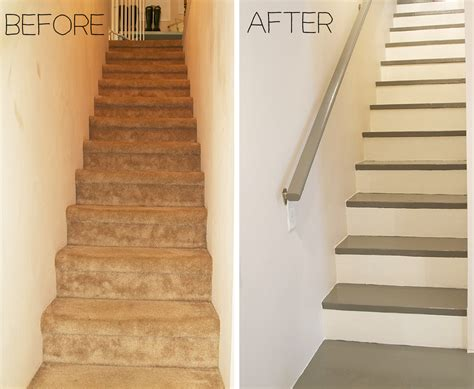 before and after carpeted stairs get painted stratton