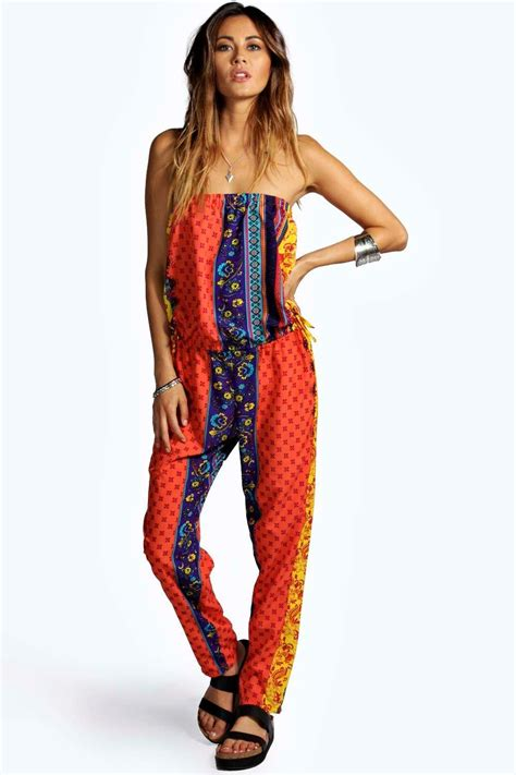 Jumpsuit Ethnic steph ethnic print bandeau jumpsuit at boohoo