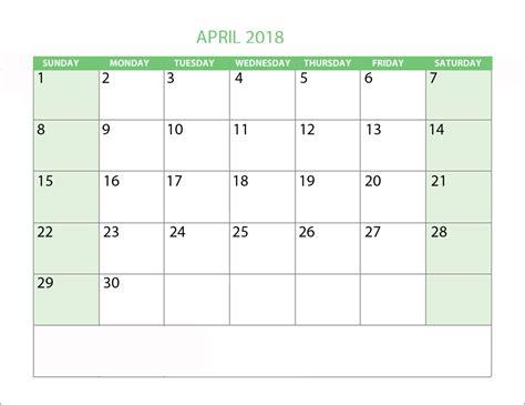Word Calendar 2018 Template