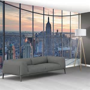 1wall new york city scape window view mural wallpaper giant wall mural new york skyline window newyork 017