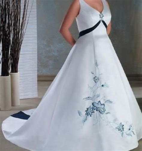 plus size wedding dresses with color accents plus size wedding dresses with blue accents naf dresses