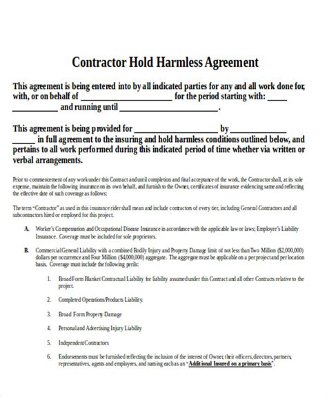 9 Contractor Agreement Sles Pdf Doc Sle Templates Contractor Indemnity Agreement Template