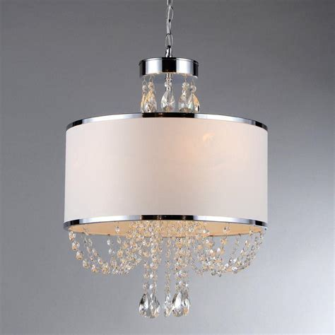 Chandelier Crystals Canada Warehouse Of Hera 4 Light Chandelier With White Shade Rl79384 The Home Depot