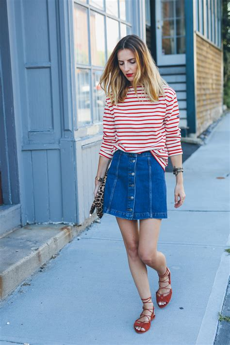 denim skirt and stripe shirt source prosecco and plaid