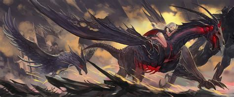 anime dragon girl wallpaper pixiv fantasia computer wallpapers desktop backgrounds