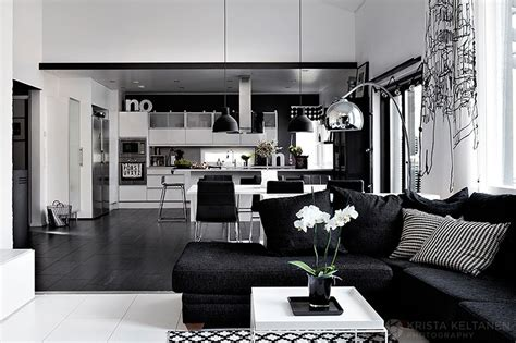 Black And White Home Interior | elegant black and white interior design with comfortable