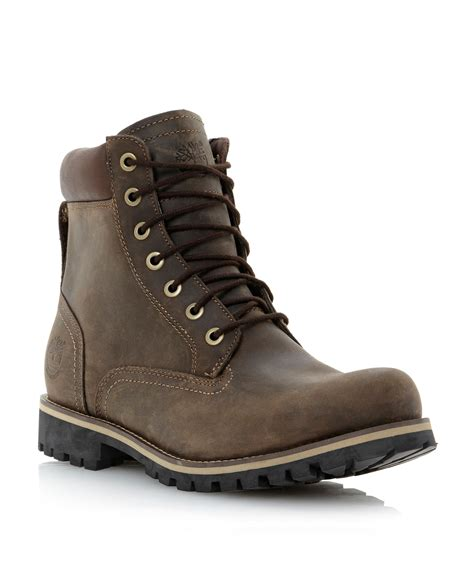 timberland heavy padded collar boot in brown for