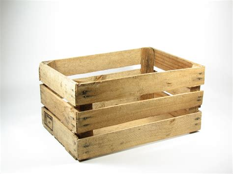 Wooden Crate by Vintage Wood Open Slat Fruit Crate