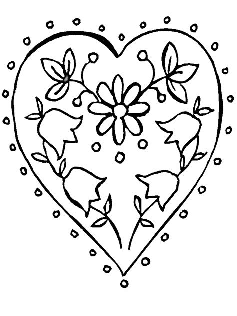 coloring pages of flowers and hearts az coloring pages